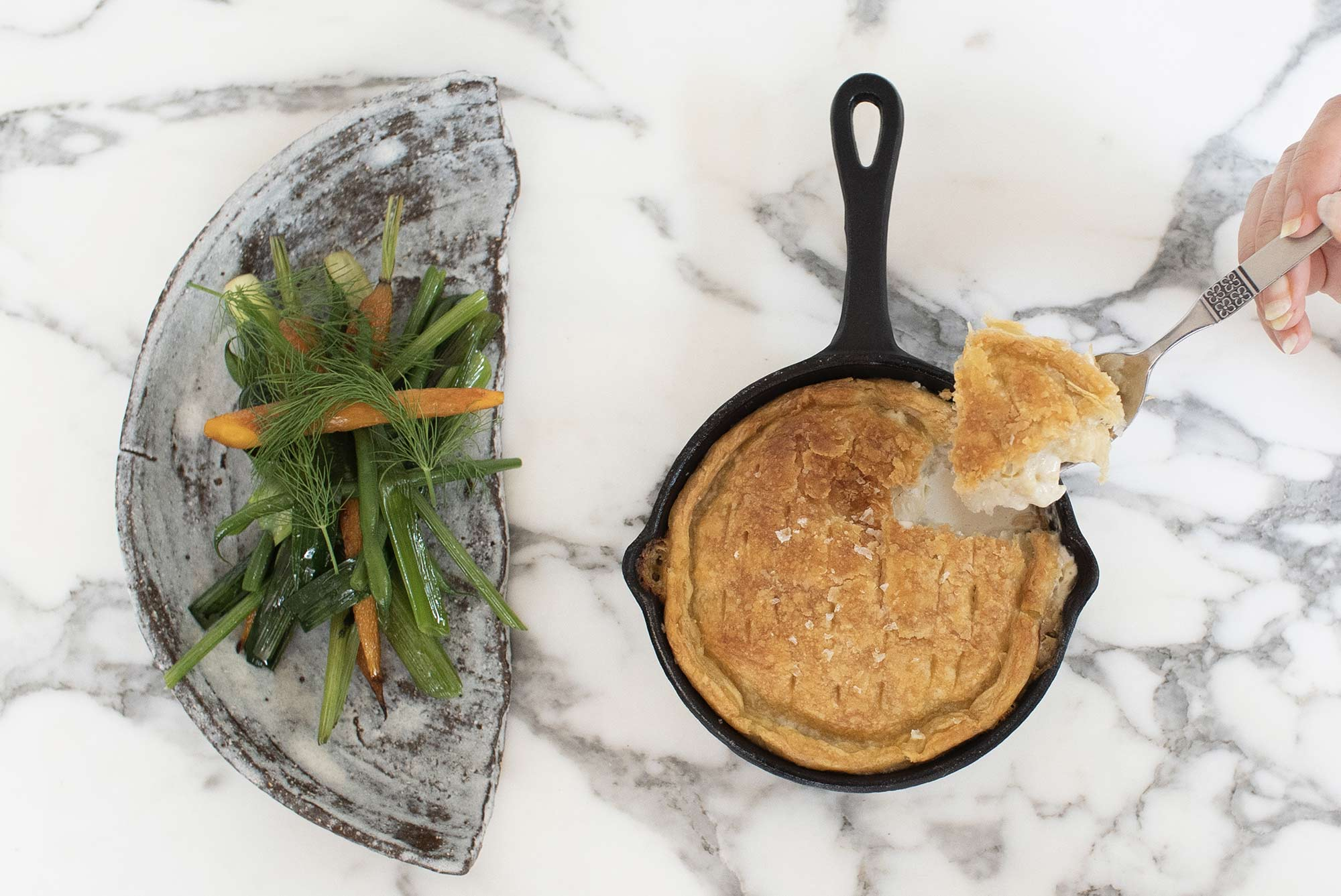 Leek & Potato Pie with Seasonal Greens